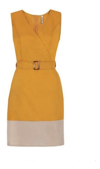 Vestido Mostaza/beige 15-530 Rinna Primavera-verano 2020