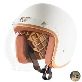 Capacete Lucca Custom Matt Cream Com2 Viseiras Bolha E Aba