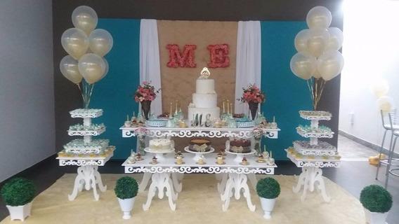 Kit Mesa Provençal Arabesco Branca Mdf15 Mm Festa Decoração