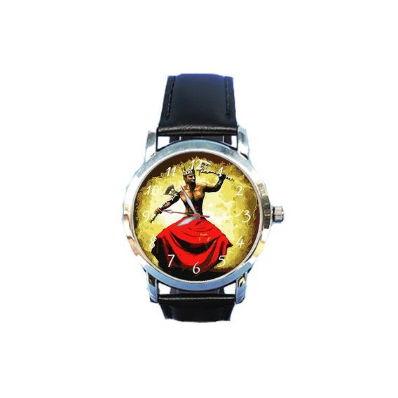 Relógio Xangô Orixá Espírita Espiritismo Couro Preto