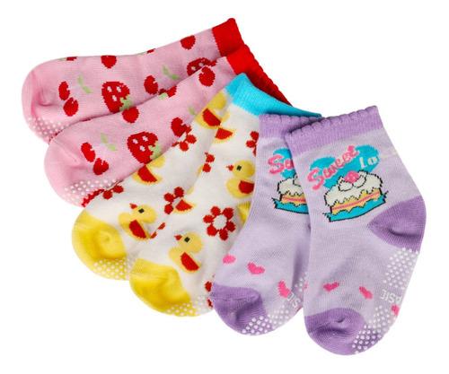 Imagen 1 de 7 de Calcetines De Algodón Antideslizantes Para Bebés, 12 Pares