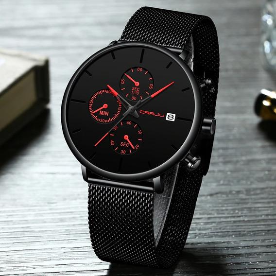 Relógio Crrju 2268 Pronta Entrega Luxo Cronógrafo Calendário