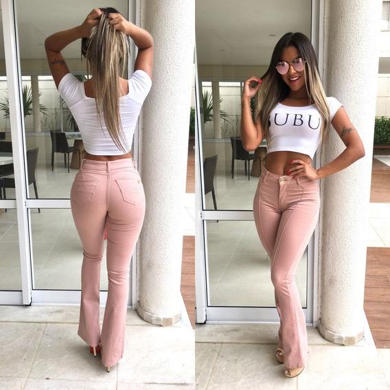 Calça Jeans Feminina Flare Hot Pant Cintura Alta Modeladora