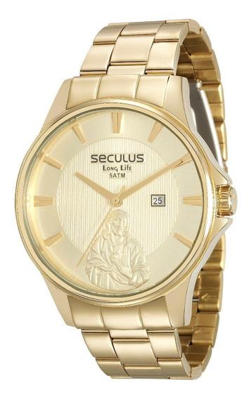 Relógio Seculus Masculino Jesus 28919gpskda1k1