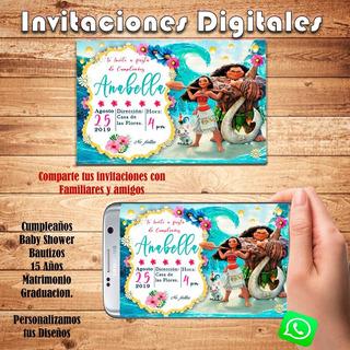 Moana Cumpleaños Tarjetas Invitacion En Mercado Libre Chile