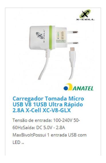 Carregador Tomada Micro Usb V8 1usb Ultra Rápido 2.8a X-cell