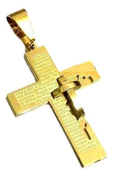 Crucifixo Masculino Banhado Ouro, Arte Alto Relevo. Ref: V21