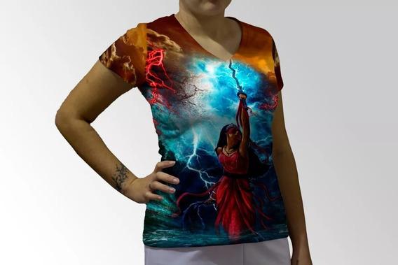 Camiseta Baby Look Orixá Iansã Guerreira Full Print Umbanda
