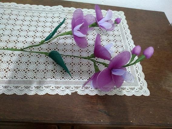 Arranjo De Orquídeas Lilás Com Viho Artesanal