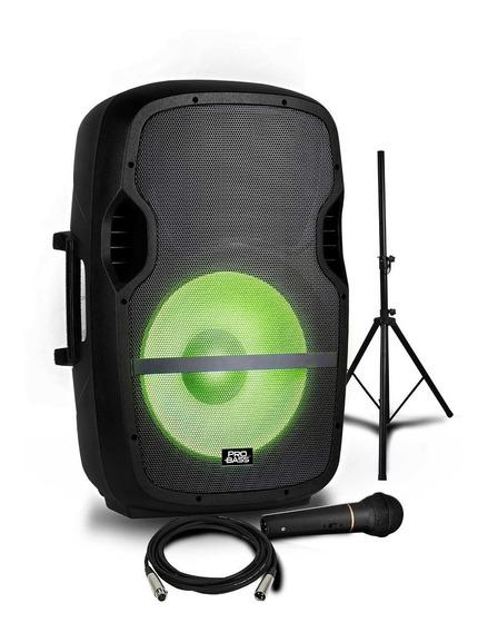 Caixa Ativa Pro Bass 15 Elevate Lp Com Tripé E Microfone