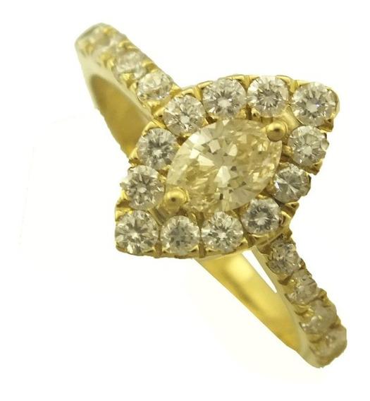 Anel 1 Kilate Diamantes Ouro 18k 750 Aliança Presente J21439