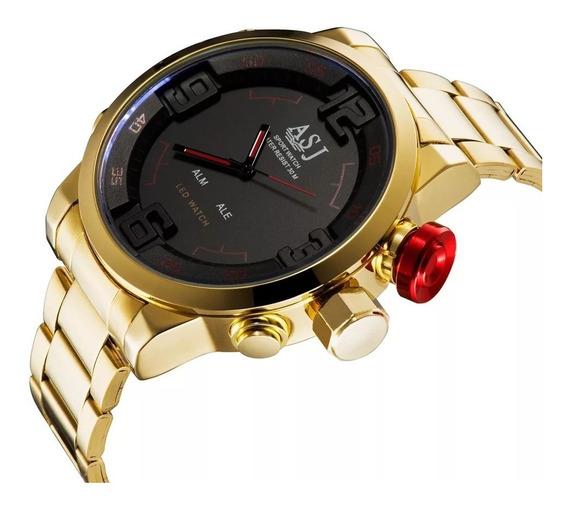 Relógio Dourado Asj Led Analógico E Digital/todo Funcional.