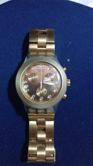 Relógio Marca Swatch Pulso Masculino Dourado Antigo