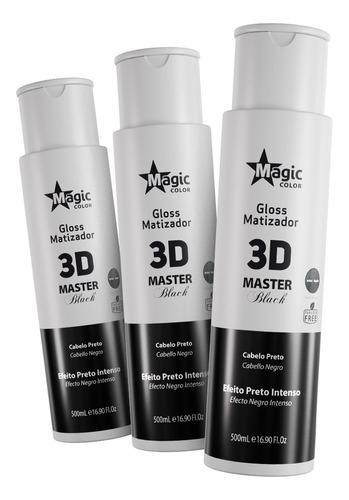 Imagem 1 de 6 de Kit 03 Magic Color Matizador 3d Master Black 500ml