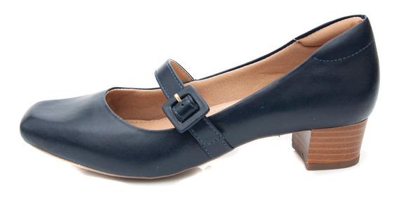 Sapato Boneca Pattini Confort Em Couro Salto Médio Azul Mari