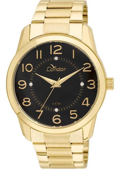 Relógio Condor Feminino Dourado Fundo Preto Co2039ab/4p