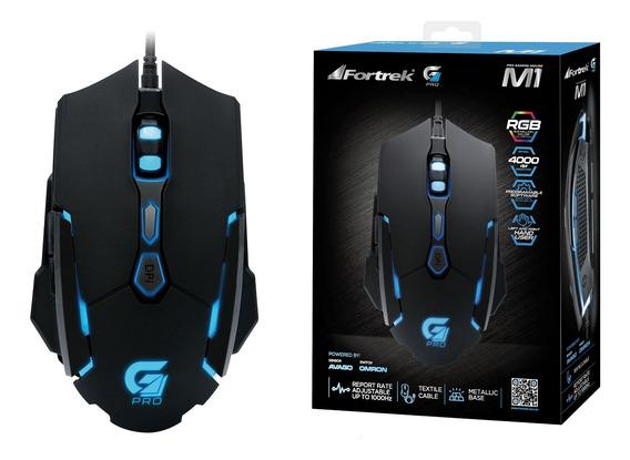 Mouse Gamer Pro M1 Rgb Preto Fortrek 7 + Scroll 4000dpi