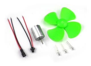 Kit Mini Generador Eolico Didactico Helice 10cm C/ Leds