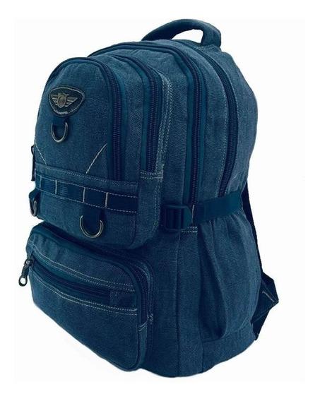 Mochila Lona Jeans Azul Sport Escolar Bolsa Mala Escolar