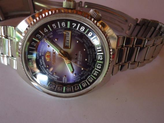 Patacão Relógio Orient Automatico King Diver Horario Mundial