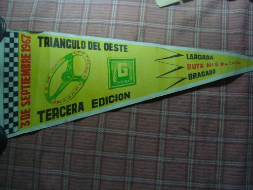 Antiguo Banderín Triangulo Del Oeste 1967 Automovilismo Gema