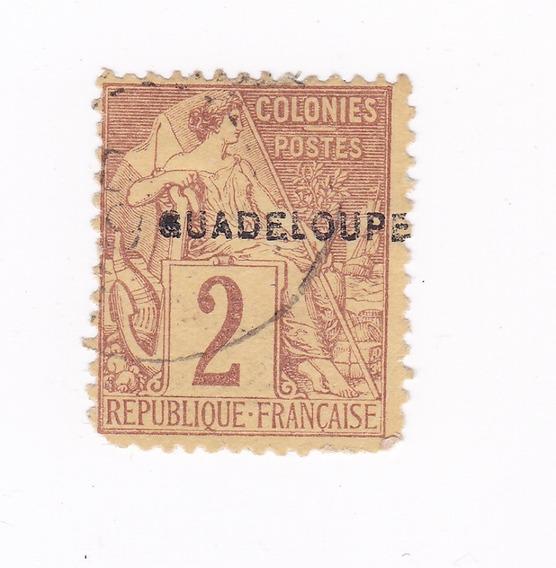 Lt442. Antiguo Sello De Colonia Francesa De Guadalupe.1891.