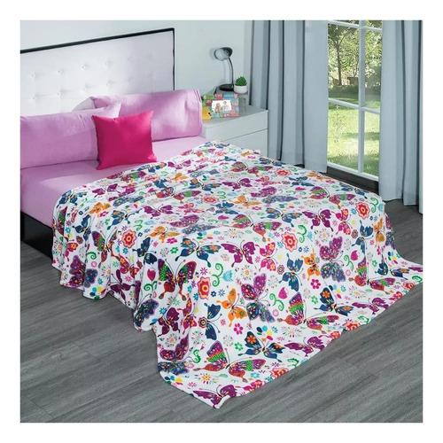 Imagen 1 de 1 de Cobertor Elefantito Ligero Matrimonial Mariposas