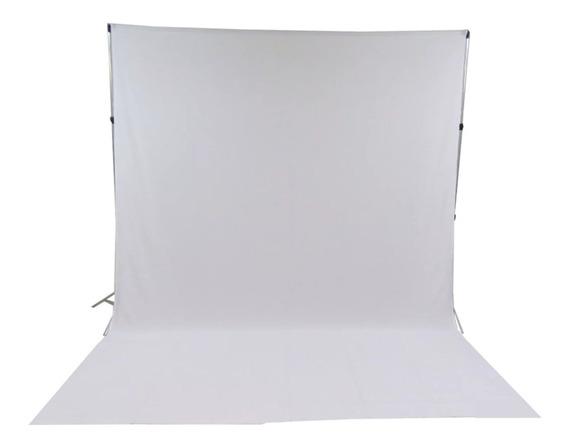 Suporte Fundo Infinito Studio + Tecido Branco 3x6 +presilhas