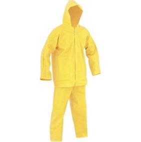 Roupa Capa De Chuva De Pvc Jaqueta E Calca Amarela Forrada