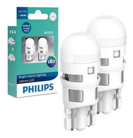 Par Lâmpada Led T10 Pingão W5w Philips Ultinon Led