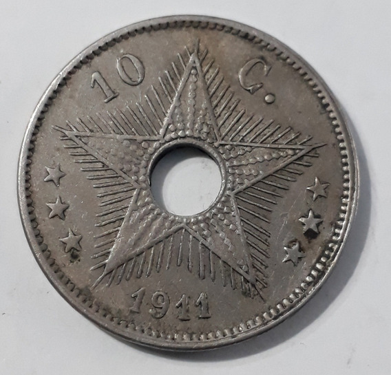 Moneda Congo Belga 10 Centimes 1911.