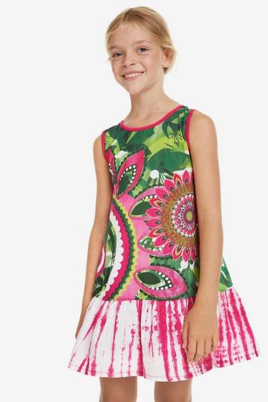 Vestido Niña Textil Rosa/verde Desigual