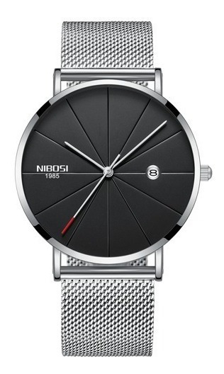 Relógio Nibosi Unissex Prata E Preto 2321 Original