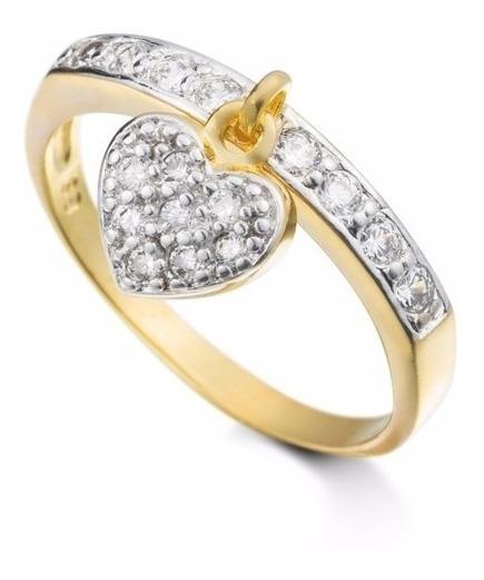 Anel Em Ouro 18k Com Diamantes E Pingente No Formato Coração