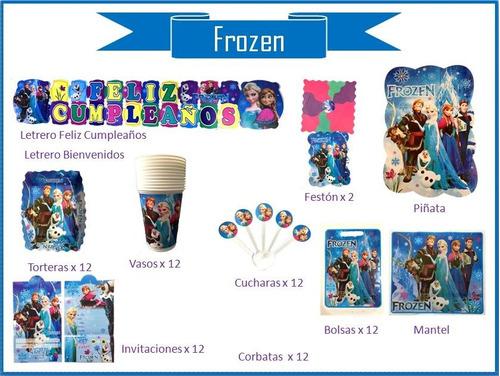 Imagen 1 de 10 de Kit Decoración  Fiesta Frozen, Cumpleaños,piñata