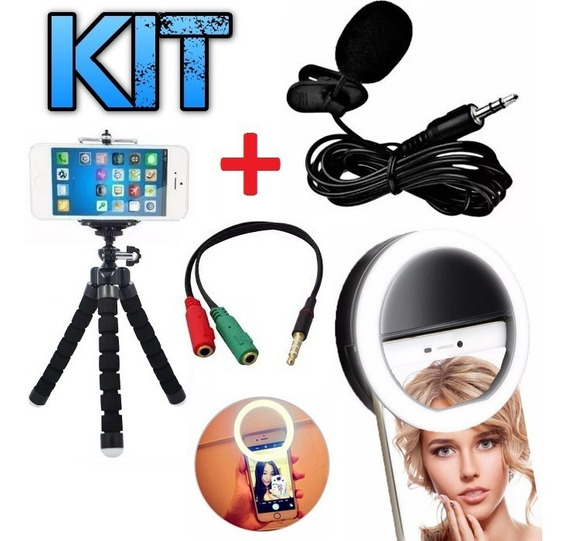 Kit Microfone De Lapela Celular + Tripé + Flash Ring Light