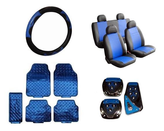 Kit Azul - Capas Courvin + Tapetes + Volante + Pedaleiras