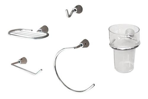 Kit Accesorios Para Baños Set 5 Piezas Cromo Metalico Oferta