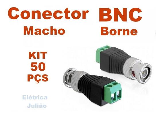 Kit C/ 50 Conector Borne Bnc Macho - Cftv