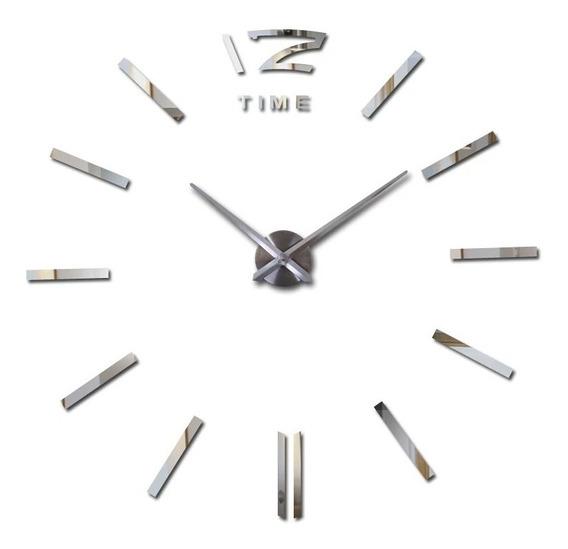 Relógio De Parede 3d Grande Preto Decorativo Casa Escritório