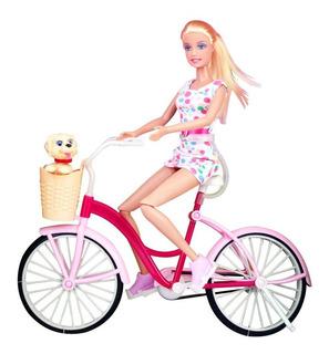 Muñeca 29cm Defa Lucy Bicicleta Glam Con Perrito Ref. 8276