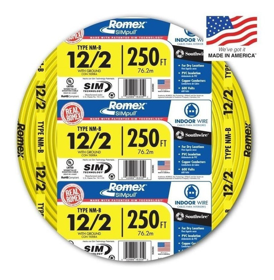 Cable Electrico Forrado 12/2 Awg + Cable Tierras 250 Ft, Lw