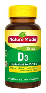 Nature Made Vitamina D3 1000 Ui 25mcg Produto Importado