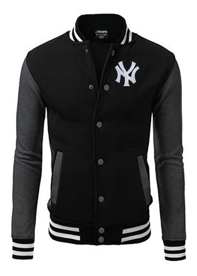Jaqueta Blusa Baseball Ny Bordado Black Edition Americana