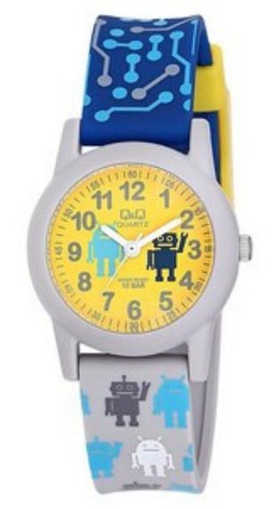 Relógio Masculino Infantil Cinza Pulseira Azul E Amarelo Q&q