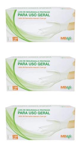 Imagem 1 de 1 de Mb Life Luvas Latex Procedimento P C/100 (kit C/03)