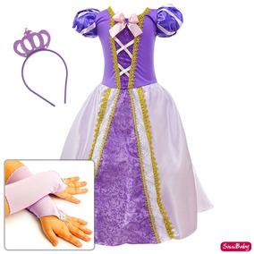 Vestido Rapunzel Enrolados Fantasia Infantil Coroa Luva Luxo