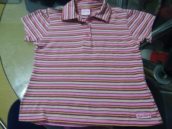 Camiseta Manga Curta Menina Gola Polo Listras Up Kids T. 10