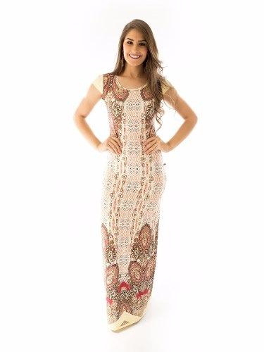 Vestido Longo Estampado Moda Evangélica