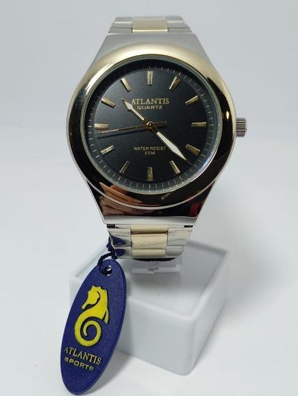 Relógio Atlantis Prata Fundo Preto - G3340